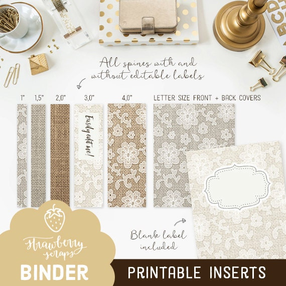 printable binder inserts burlap lace 5x set covers spines