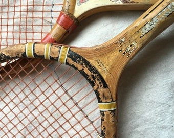 Vintage Wooden Tennis Raquets-Leather Grips (Pair)