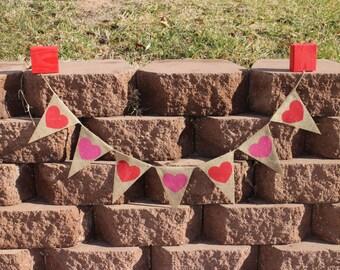 Heart Garland Heart Banner Heart Burlap Garland Heart Burlap Banner Valentine's Day Banner Valentine's Day Burlap Garland Wedding Garland