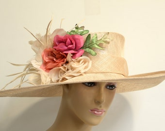 Champagne/red-pink flowers/green leaves  Wide Brim Sinamay Hat, Elegant,Beautiful, Kentucky Derby Hat, Wedding, Formal Dressy Church hat