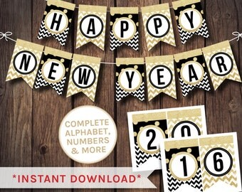 new year banner, black and white banner, alphabet banner, 2016 banner, printable banner, black white banner, party bunting, party banner