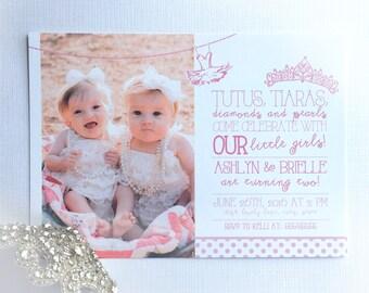 Tutus & Tiaras Invitation • Princess Invite • Twin Birthday Invitation • Twin Girls Birthday Invitation  • Princess Party • Girl Invitation