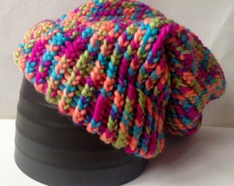 Colourful Chunky Knit Slouch Beanie -  Adult / Teen Knitted Loom Hat