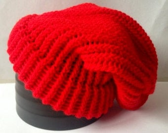 Red Knitted Slouch Hat - Ready To Ship Adult/Teen Loom Knit Hat