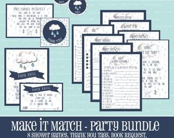 Make It Match Rain Drop BABY SHOWER Party BUNDLE,Baby Shower Games,Baby,Shower,Entire Party,Bundle,Package,Instant Download,Rain Drop, Rain