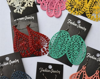 Handmade, Hand painted Filligree Earrings