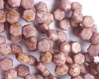 Honeycomb Jewel Segenal Purple 2-Hole Czech Glass Beads 6mm, qty 30 beads