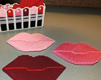 Lip and Lipstick Coaster Set Handmade