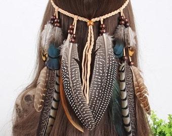 Feather headband, boho headband, braid headband.