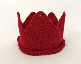 Red Knitted Crown - Little Royal