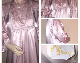 Vintage Long Billow Sleeve ILISE STEVENS Pink Satin Flannel Nightgown Sz M Medium B-40