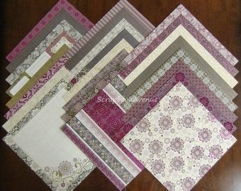 "DCWV The Midnight Berry Stack LOT of 24 Sheets of 12"" x 12"" Scrapbook Printed Cardstock"