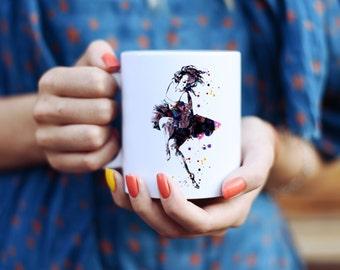 Ballerina Mug - Watercolor Mugs - Ceramic Mug - Art Mug - Colorful Coffee Mug