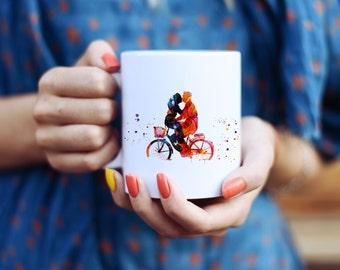 Love Bicycle Mug - Watercolor Mugs - Ceramic Mug - Art Mug - Colorful Coffee Mug