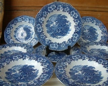 One English vintage blue transferware soup plate. English ironstone. Enoch Wedgewood Tunstall. Woodland pattern