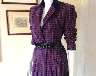 80's Pendleton Wool Plaid 2 Piece Suit, Violet and Navy  Nipped Waist Suit Jacket with Midi Skirt, Purple Plaid Suit- Size 6