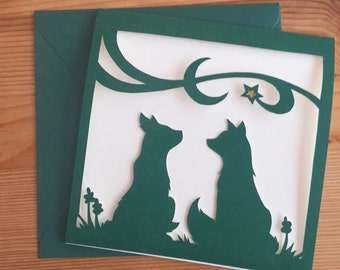 Papercut Foxes Christmas Card - Green