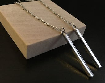 Silver Bar Pendant Necklace