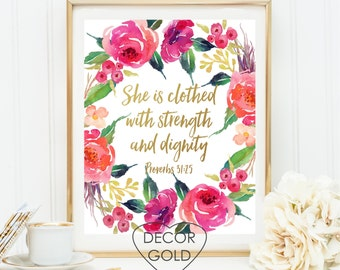 She is clothed with strength and dignity Proverbs 31:25 Bible verse gold foil print, gold office decor, gold home decor, Christmas gift