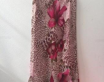 90s Floral Leopard Print Skirt