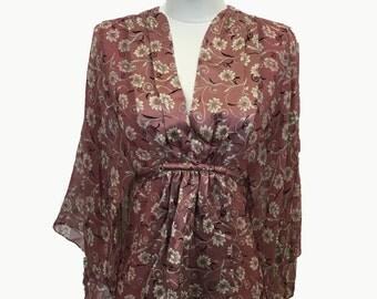 90s Floral Kimono Blouse by Romerecci