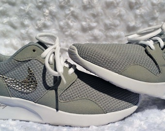 Woman's Nike Kaishi Running Shoes W/Swarovski Crystals - Wolf Grey/White
