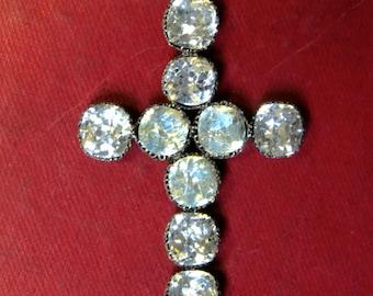 Antique Georgian Cross Pendant – Paste Stones – 18th Century