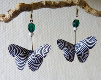 Origami butterflies black and white earrings