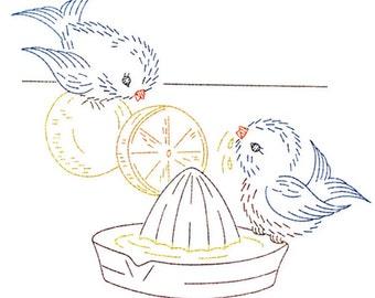 IVAB7017 Lemonade Bluebird Couple Vintage Embroidery Transfer PDF Instant Download!