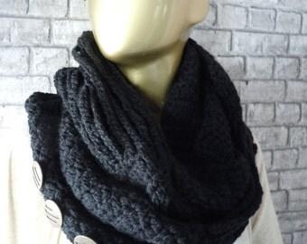 CLEARANCE/Black crochet infinity scarf, women scarf, women accessories