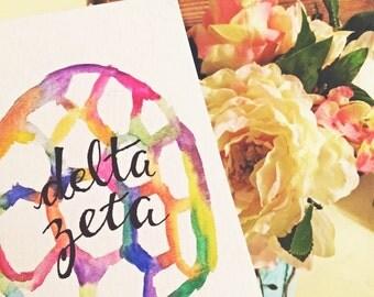Delta Zeta Watercolor