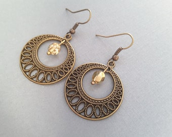 Boho Antique Brass Filigree Circles and Gold Crystals . Earrings