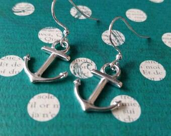 Sleek Silver Anchor Earrings