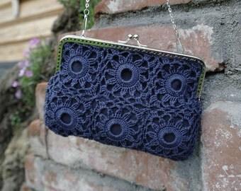 Crochet bag, crochet shoulder bag, wedding bag, bag for party, evening bag, bag with chain