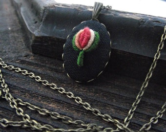 "Hand embroidered pendant ""Rosebud"""