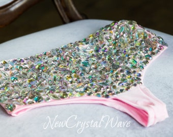 Rhinestone Swimsuit Bottom. GORGEOUS & SPARKLY. Crystals. dazzling crystallized.
