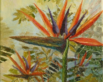 Original Oil Painting - Bird of Paradise Palette knife painting