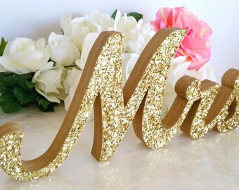 Mr and Mrs Wedding Signs for your Sweetheart Table; Wedding Decor; Large Thick Wood table decoration Soirée Collection  [M&M]