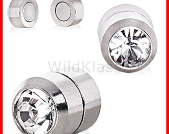 Magnetic Fake Plugs Clear CZ