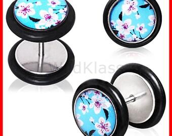 Fake Plug Blue Cherry Blossom