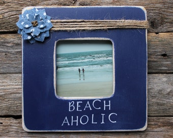 Beach Aholic Frame, Beach Picture Frame, Navy Blue Frame, Nautical Picture Frame