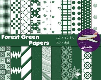 Forest Green Digital Papers for Scrapbooking, Card Making, Paper Crafts and Invitations