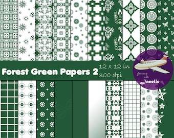 Forest Green Digital Papers 2 for Scrapbooking, Card Making, Paper Crafts and Invitations