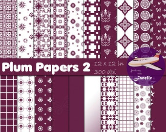 Plum Digital Papers 2 for Scrapbooking, Card Making, Paper Crafts and Invitations