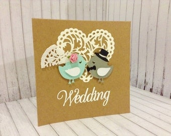 Kraft Bride and Groom love birds wedding card, Mr & Mrs card, wedding card