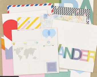 World Traveler Papers Kit #1- Digital Scrapbooking Kit, digital papers, travel, INSTANT DOWNLOAD, commercial use
