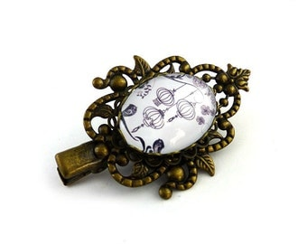 Small barrette love birds and cages of black on white, bronze-colored metal aged, pinch in the hair