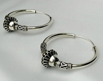 Sterling silver large earrings, vintage hoop earrings, silver hoop earrings, silver earrings, large earrings, sterling, handmade earrings