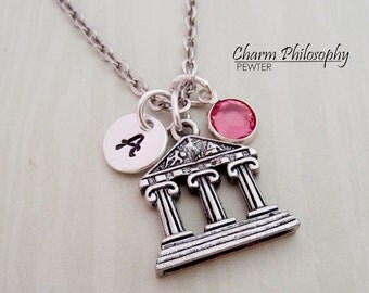 Parthenon Necklace - Personalized Initial and Birthstone - Antique Silver Pewter Jewelry - Ancient Greece Necklace