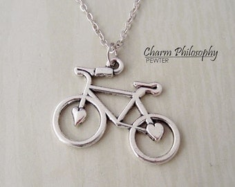 Bicycle Necklace - Antique Silver Jewelry - Bike Silhouette Charm
